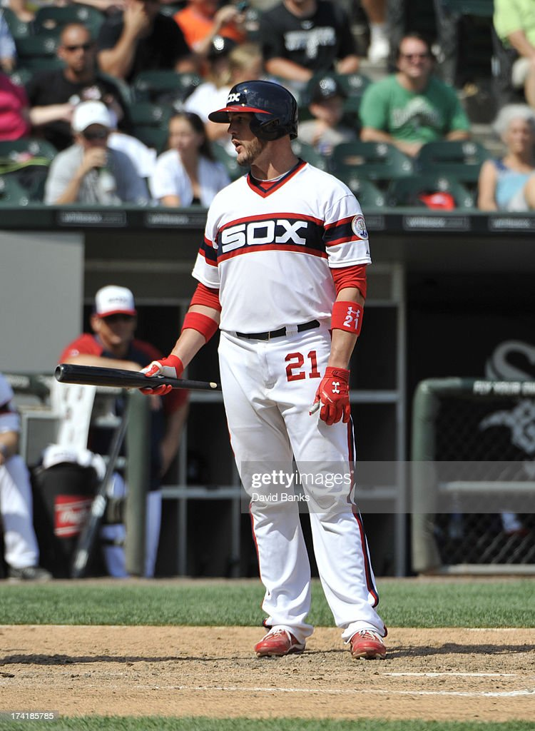 <a gi-track='captionPersonalityLinkClicked' href=/galleries/search?phrase=Tyler+Flowers&family=editorial&specificpeople=4217244 ng-click='$event.stopPropagation()'>Tyler Flowers</a> #21 of the Chicago White Sox reacts after striking out against the Atlanta Braves during the seventh inning on July 21, 2013 at U.S. Cellular Field in Chicago, Illinois. The Chicago White Sox defeated the Atlanta Braves 3-1.