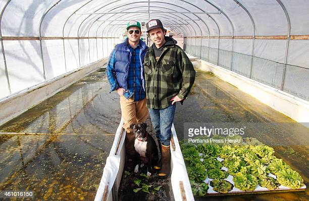Tyler Gaudet and Jackson McLeod both of Portland and their fourlegged friend Addy stand in the greenhouse in North Yarmouth where they run their...