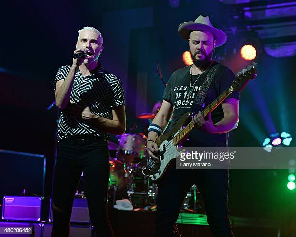 Tyler Glenn and Branden Campbell of Neon Trees perform at Revolution on July 9 2015 in Fort Lauderdale Florida