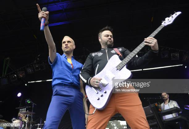 Tyler Glenn and Branden Campbell of Neon Trees perform during the Chipotle Cultivate Festival at Hellman Hollow in Golden Gate Park on June 7 2014 in...