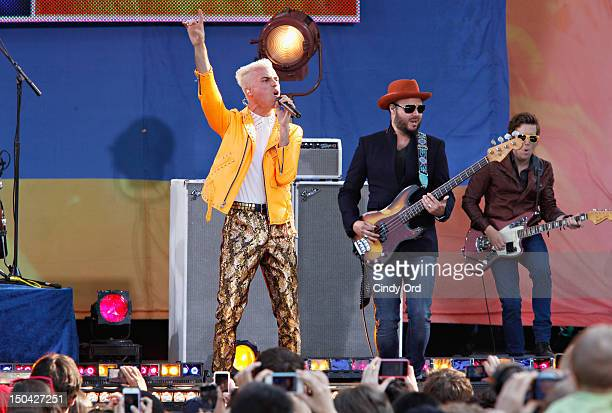 Tyler Glenn and Branden Campbell of Neon Trees performs on ABC's 'Good Morning America' at Rumsey Playfield Central Park on August 17 2012 in New...