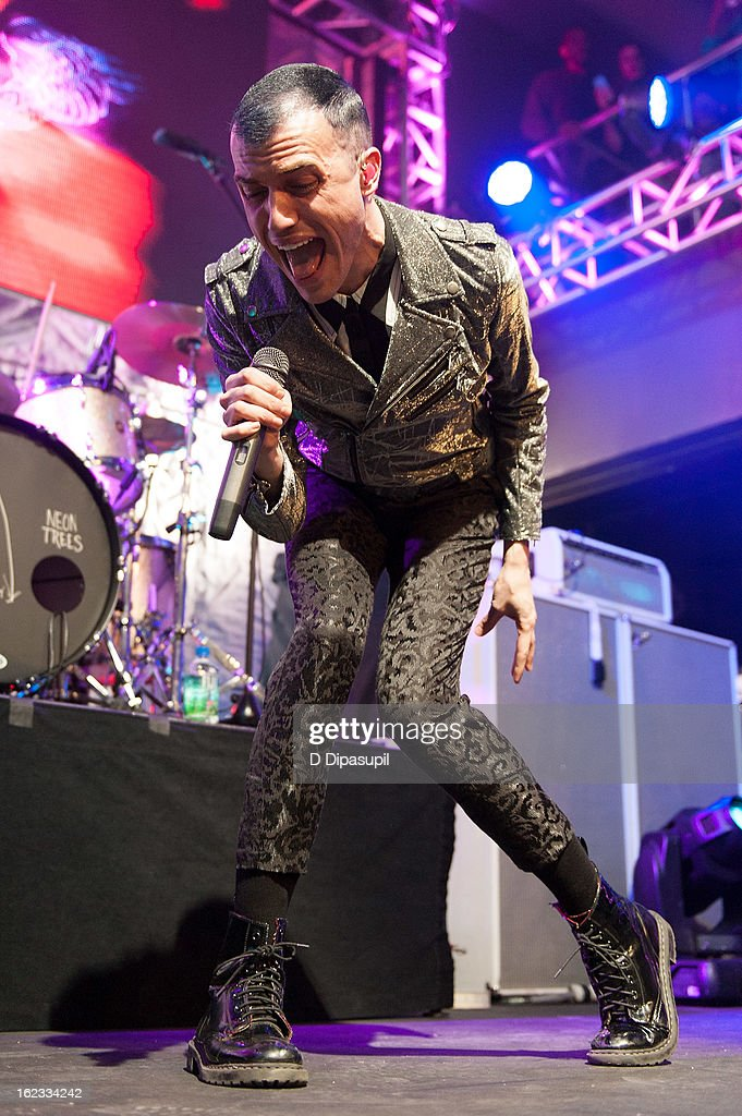 <a gi-track='captionPersonalityLinkClicked' href=/galleries/search?phrase=Tyler+Glenn&family=editorial&specificpeople=5680345 ng-click='$event.stopPropagation()'>Tyler Glenn</a> of Neon Trees performs on stage during The New Billboard 2013 launch event at Stage 48 on February 21, 2013 in New York City.
