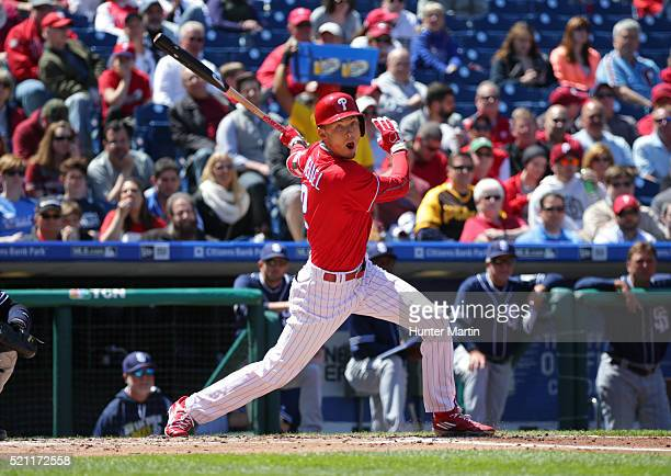 Tyler Goeddel of the Philadelphia Phillies bats in the second inning during a game against the San Diego Padres at Citizens Bank Park on April 14...
