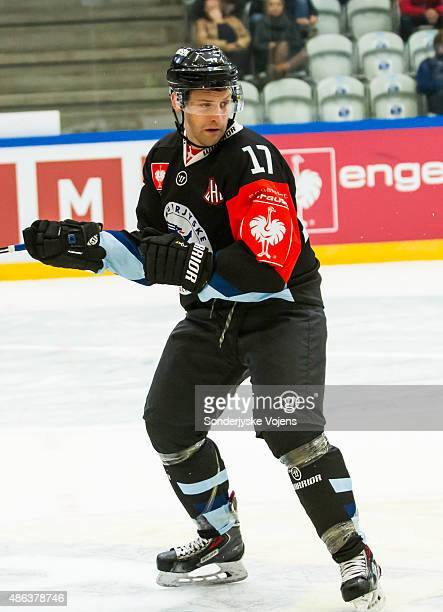 Tyler Gotto of Vojens looks on during the Champions Hockey League group stage game between SonderjyskE Vojens and HV71 Jonkoping on September 3 2015...