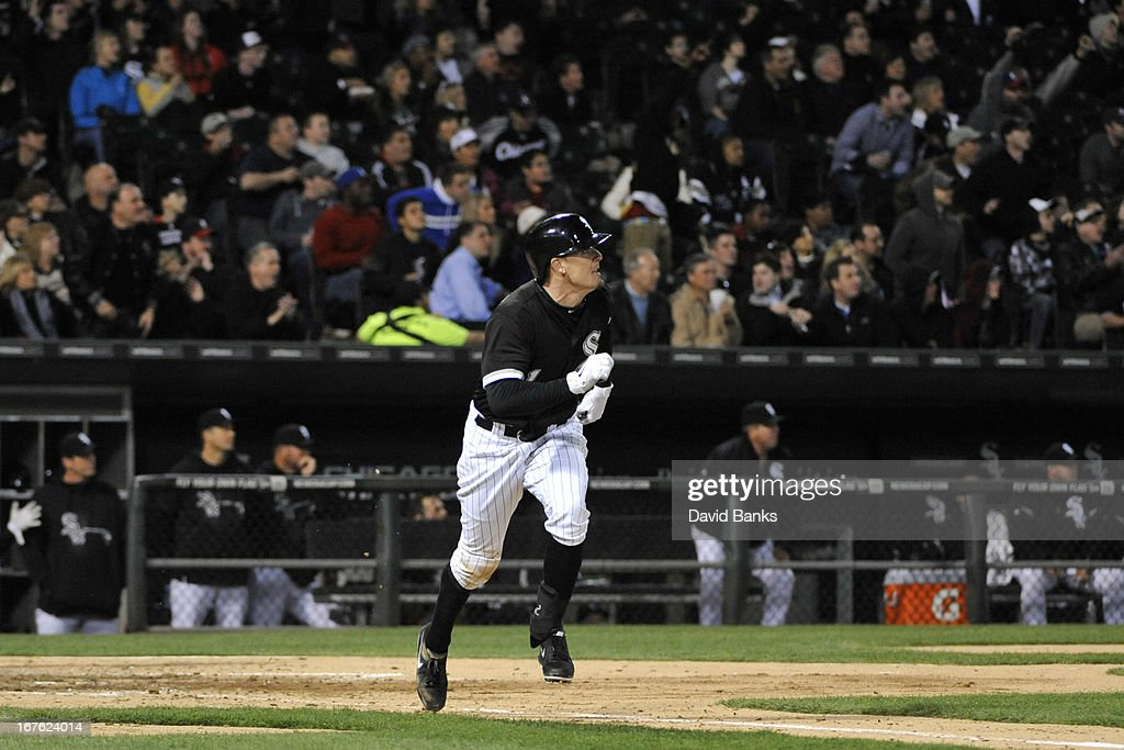 Tyler Greene #1 of the Chicago White Sox runs the bases after hitting a two-run home run against the Tampa Bay Rays during the fifth inning on April 26, 2013 at U.S. Cellular Field in Chicago, Illinois.