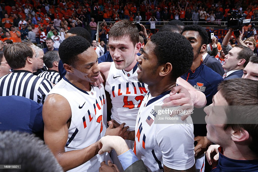 Tyler Griffey #42 of the Illinois Fighting Illini celebrates with teammates after scoring the game-winning basket against the Indiana Hoosiers during the game at Assembly Hall on February 7, 2013 in Champaign, Illinois. Illinois defeated No. 1 ranked Indiana 74-72.