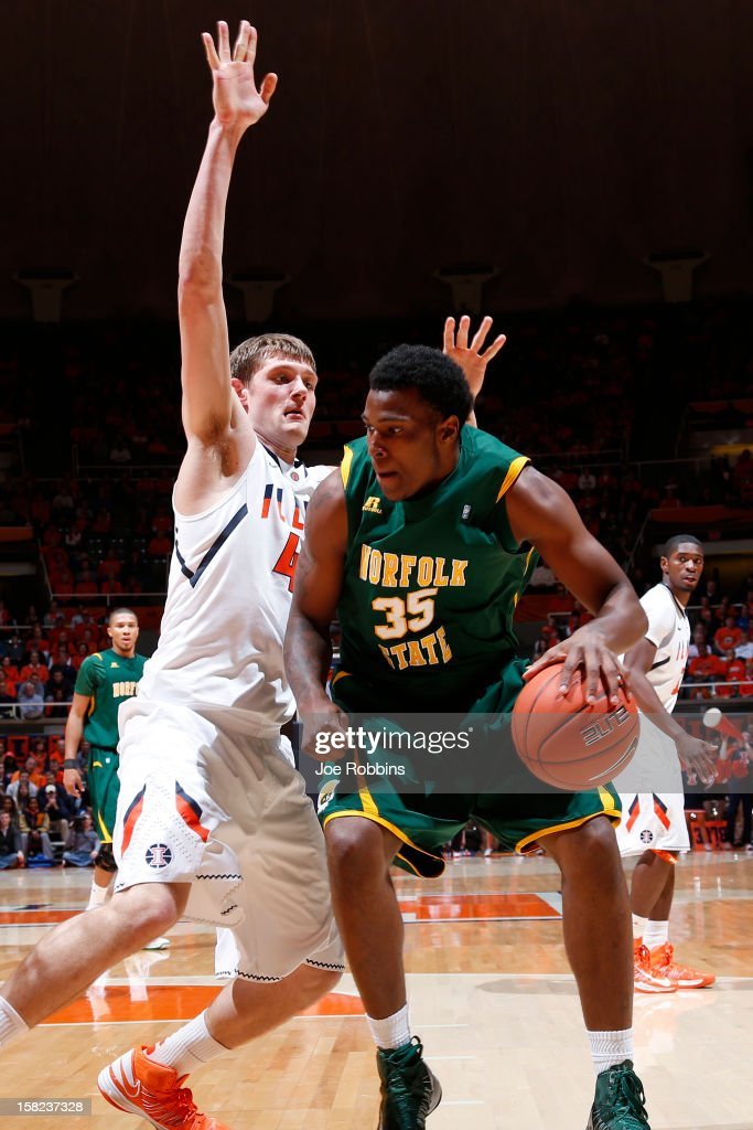 Tyler Griffey #42 of the Illinois Fighting Illini defends against Rashid Gaston #35 of the Norfolk State Spartans during the game at Assembly Hall on December 11, 2012 in Champaign, Illinois. Illinois won 64-54.