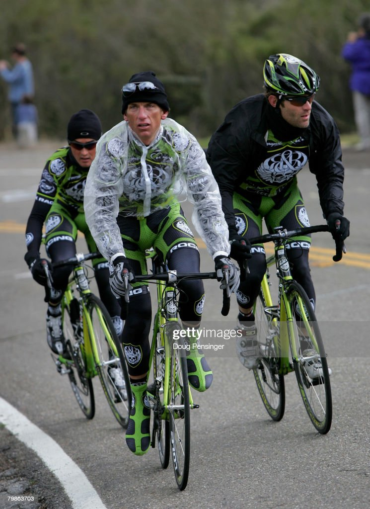 Tyler Hamilton of the USA Oscar Sevilla of Spain and Santiago Botero of Columbia of the Rock Racing Team train on the course before the Sierra Road...