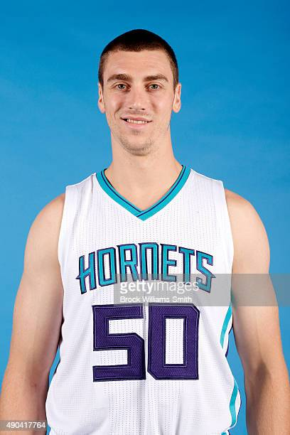 Tyler Hansbrough of the Charlotte Hornets poses for media day at the Time Warner Cable Arena on February 4 2015 in Charlotte North Carolina NOTE TO...