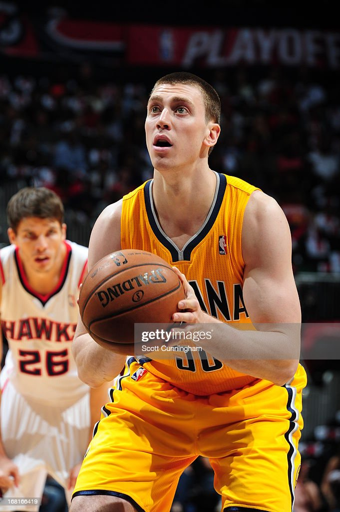 Tyler Hansbrough #50 of the Indiana Pacers attempts a foul shot against the Atlanta Hawks during Game Six of the Eastern Conference Quarterfinals in the 2013 NBA Playoffs on May 3, 2013 at Philips Arena in Atlanta, Georgia.