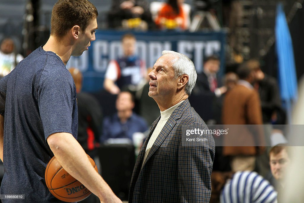 Tyler Hansbrough #50 of the Indiana Pacers chats with Coach Frank Vogel before the game against the Charlotte Bobcats at the Time Warner Cable Arena on January 15, 2013 in Charlotte, North Carolina.