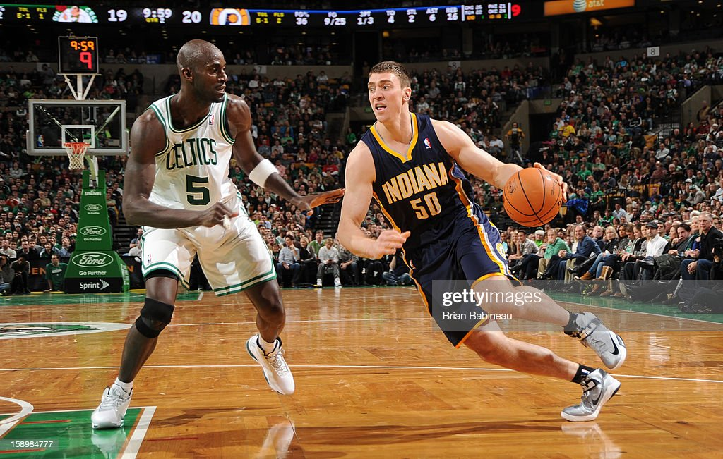 Tyler Hansbrough #50 of the Indiana Pacers drives to the basket against Kevin Garnett #5 of the Boston Celtics on January 4, 2013 at the TD Garden in Boston, Massachusetts.