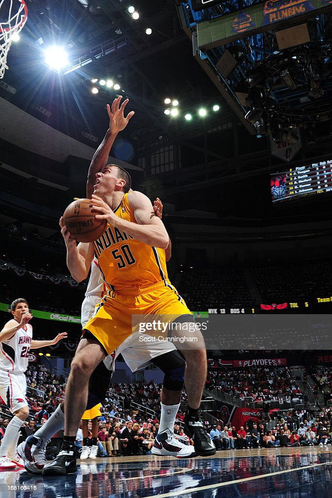 <a gi-track='captionPersonalityLinkClicked' href=/galleries/search?phrase=Tyler+Hansbrough&family=editorial&specificpeople=642794 ng-click='$event.stopPropagation()'>Tyler Hansbrough</a> #50 of the Indiana Pacers drives to the basket against the Atlanta Hawks during Game Six of the Eastern Conference Quarterfinals in the 2013 NBA Playoffs on May 3, 2013 at Philips Arena in Atlanta, Georgia.