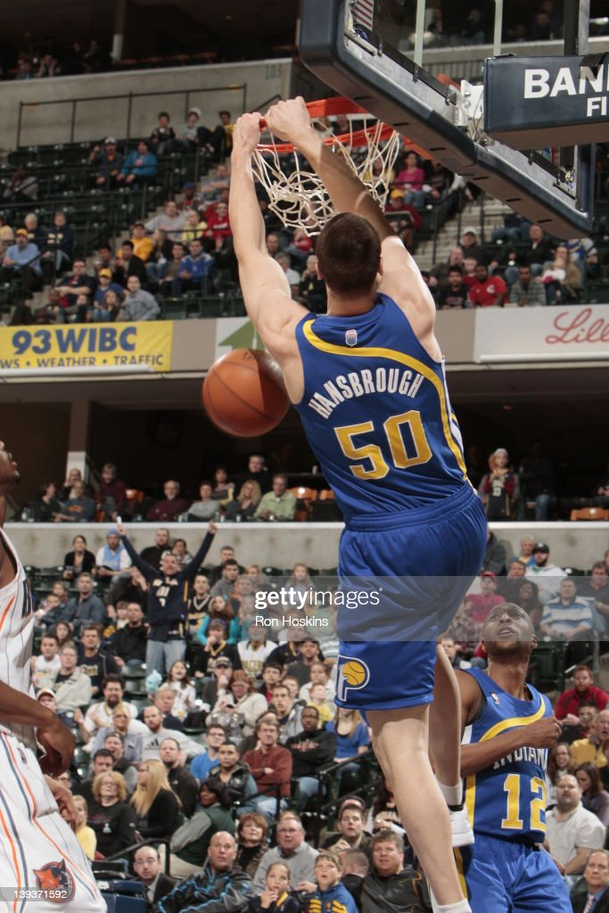 <a gi-track='captionPersonalityLinkClicked' href=/galleries/search?phrase=Tyler+Hansbrough&family=editorial&specificpeople=642794 ng-click='$event.stopPropagation()'>Tyler Hansbrough</a> #50 of the Indiana Pacers dunks the ball against the Charlotte Bobcats on February 19, 2012 at Bankers Life Fieldhouse in Indianapolis, Indiana.