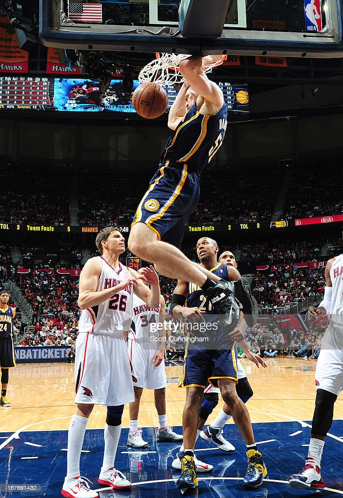 Tyler Hansbrough #50 of the Indiana Pacers dunks the ball during the Game Three of the Eastern Conference Quarterfinals between the Indiana Pacers and the Atlanta Hawks in the 2013 NBA Playoffs on April 27, 2013 at Philips Arena in Atlanta, Georgia.