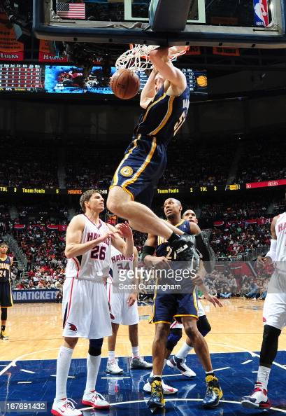 Tyler Hansbrough of the Indiana Pacers dunks the ball during the Game Three of the Eastern Conference Quarterfinals between the Indiana Pacers and...