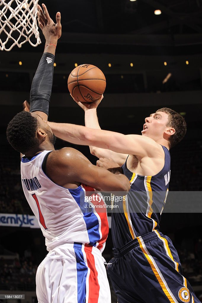 <a gi-track='captionPersonalityLinkClicked' href=/galleries/search?phrase=Tyler+Hansbrough&family=editorial&specificpeople=642794 ng-click='$event.stopPropagation()'>Tyler Hansbrough</a> #50 of the Indiana Pacers goes in for the easy score against the Detroit Pistons during the game on December 15, 2012 at The Palace of Auburn Hills in Auburn Hills, Michigan.