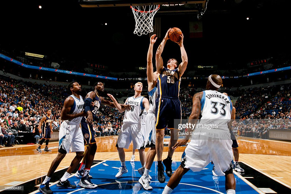 Tyler Hansbrough #50 of the Indiana Pacers goes to the basket against the Minnesota Timberwolves on November 9, 2012 at Target Center in Minneapolis, Minnesota.
