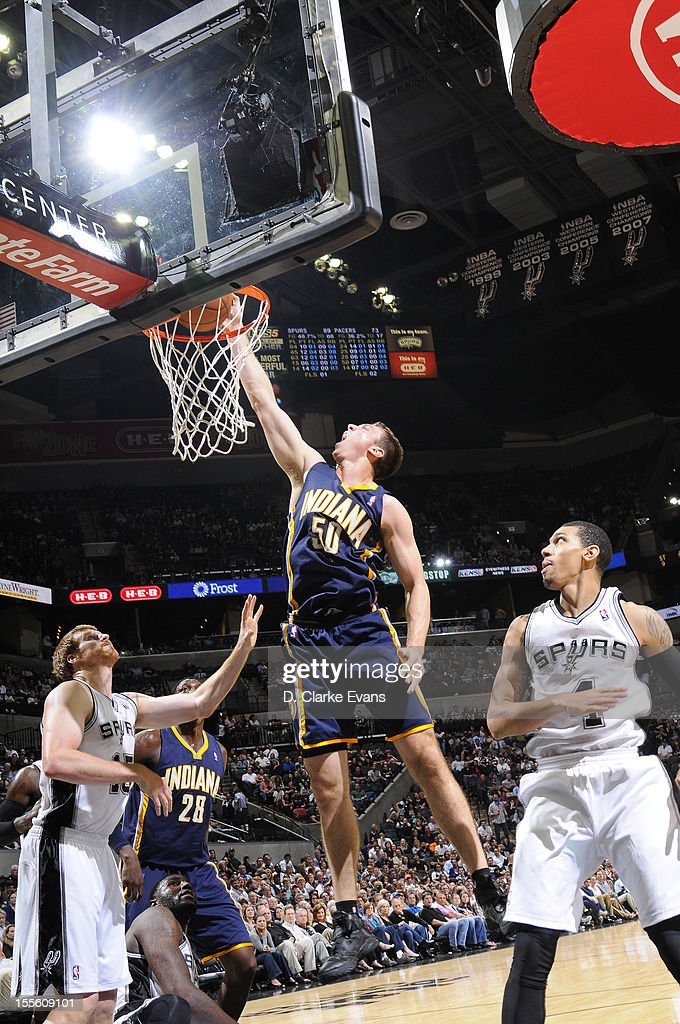 <a gi-track='captionPersonalityLinkClicked' href=/galleries/search?phrase=Tyler+Hansbrough&family=editorial&specificpeople=642794 ng-click='$event.stopPropagation()'>Tyler Hansbrough</a> #50 of the Indiana Pacers goes to the basket during the game between the Indiana Pacers and the San Antonio Spurs on November 5, 2012 at the AT&T Center in San Antonio, Texas.