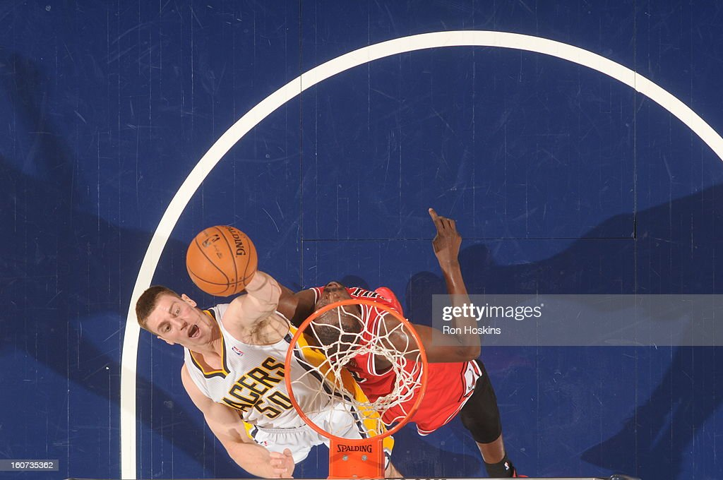 <a gi-track='captionPersonalityLinkClicked' href=/galleries/search?phrase=Tyler+Hansbrough&family=editorial&specificpeople=642794 ng-click='$event.stopPropagation()'>Tyler Hansbrough</a> #50 of the Indiana Pacers goes to the basket during the game between the Indiana Pacers and the Chicago Bulls on February 4, 2013 at Bankers Life Fieldhouse in Indianapolis, Indiana.