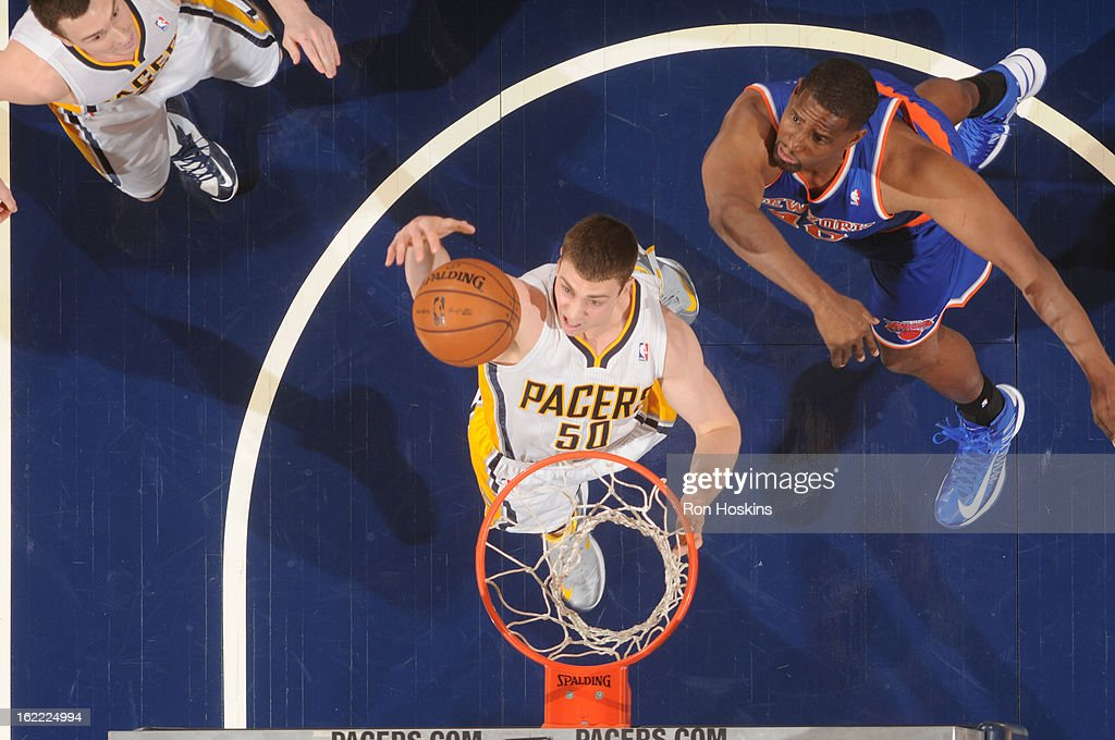 <a gi-track='captionPersonalityLinkClicked' href=/galleries/search?phrase=Tyler+Hansbrough&family=editorial&specificpeople=642794 ng-click='$event.stopPropagation()'>Tyler Hansbrough</a> #50 of the Indiana Pacers goes to the basket during the game between the Indiana Pacers and the New York Knicks on February 20, 2013 at Bankers Life Fieldhouse in Indianapolis, Indiana.