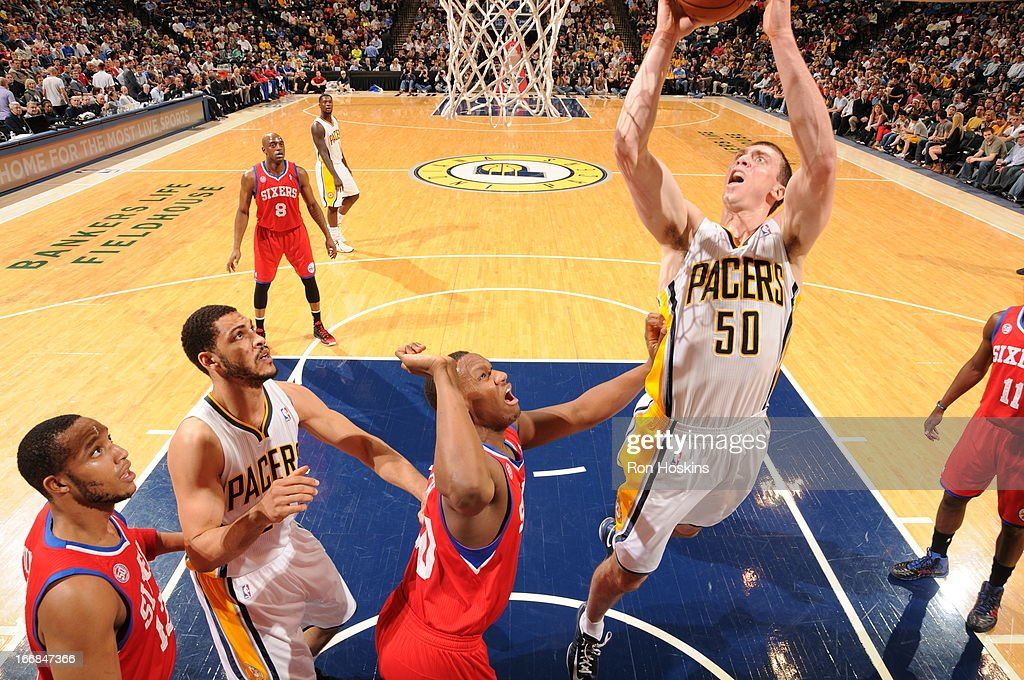 <a gi-track='captionPersonalityLinkClicked' href=/galleries/search?phrase=Tyler+Hansbrough&family=editorial&specificpeople=642794 ng-click='$event.stopPropagation()'>Tyler Hansbrough</a> #50 of the Indiana Pacers goes to the basket during the game between the Indiana Pacers and the Philadelphia 76ers on April 17, 2013 at Bankers Life Fieldhouse in Indianapolis, Indiana.