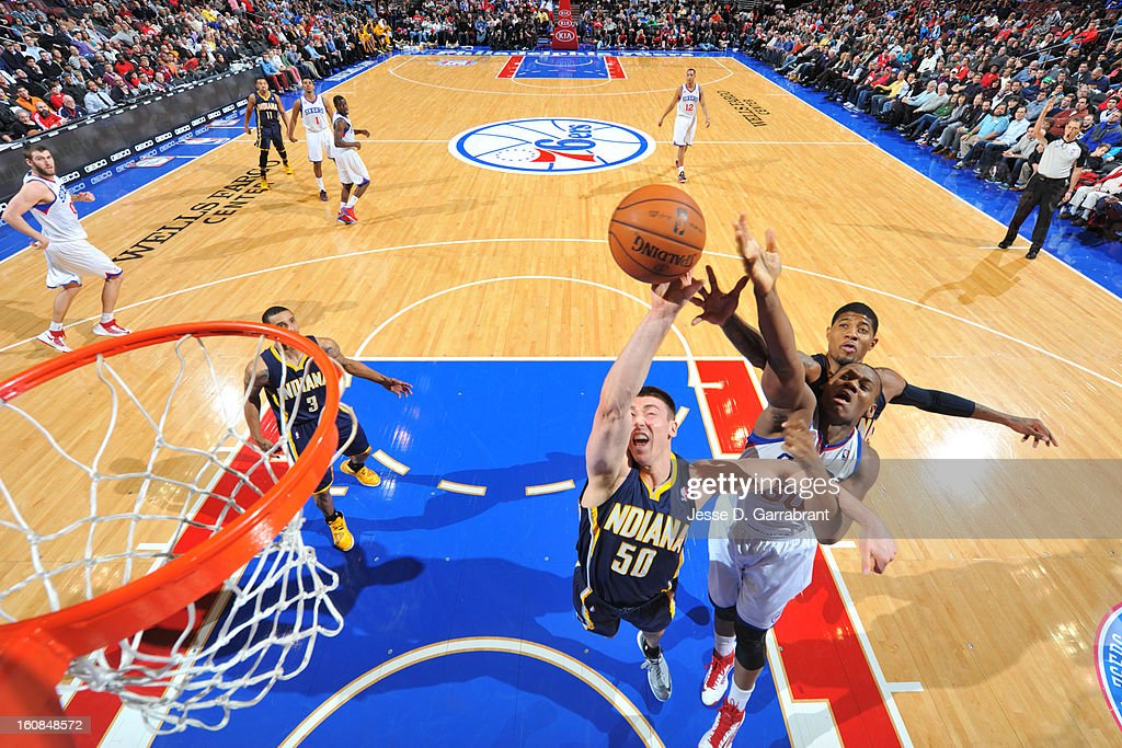 Tyler Hansbrough #50 of the Indiana Pacers grabs a rebound against Lavoy Allen #50 of the Philadelphia 76ers during the game at the Wells Fargo Center on February 6, 2013 in Philadelphia, Pennsylvania.