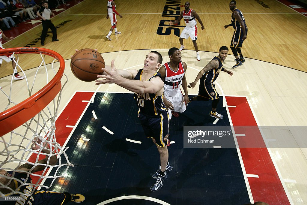 <a gi-track='captionPersonalityLinkClicked' href=/galleries/search?phrase=Tyler+Hansbrough&family=editorial&specificpeople=642794 ng-click='$event.stopPropagation()'>Tyler Hansbrough</a> #50 of the Indiana Pacers grabs a rebound against the Washington Wizards at the Verizon Center on April 6, 2013 in Washington, DC.