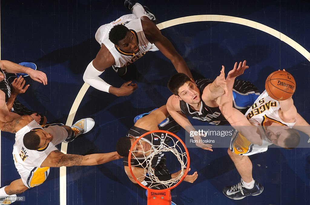 Tyler Hansbrough #50 of the Indiana Pacers puts up a shot against the Orlando Magic on March 19, 2013 at Bankers Life Fieldhouse in Indianapolis, Indiana.