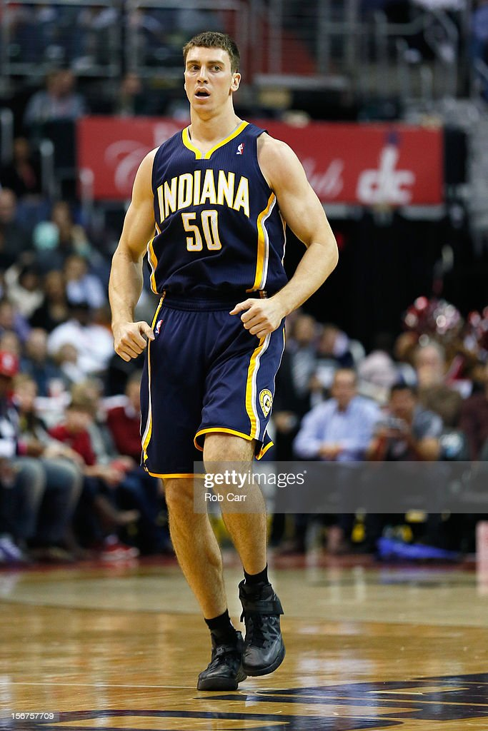 Tyler Hansbrough #50 of the Indiana Pacers runs down the floor during the second half against the Washington Wizards at Verizon Center on November 19, 2012 in Washington, DC.NOTE