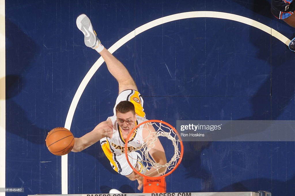 Tyler Hansbrough #50 of the Indiana Pacers shoots a layup against the Charlotte Bobcats on February 13, 2013 at Bankers Life Fieldhouse in Indianapolis, Indiana.