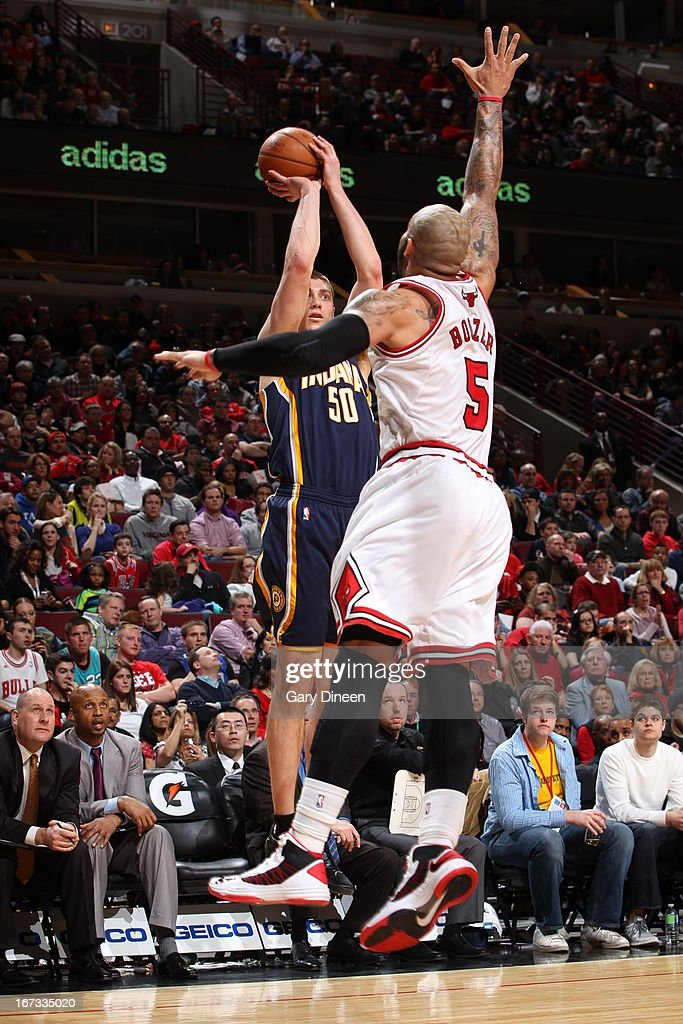 Tyler Hansbrough #50 of the Indiana Pacers shoots the ball against the Chicago Bulls on March 23, 2013 at the United Center in Chicago, Illinois.