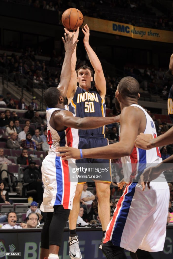<a gi-track='captionPersonalityLinkClicked' href=/galleries/search?phrase=Tyler+Hansbrough&family=editorial&specificpeople=642794 ng-click='$event.stopPropagation()'>Tyler Hansbrough</a> #50 of the Indiana Pacers takes a jumpshot in traffic against the Detroit Pistons during the game on December 15, 2012 at The Palace of Auburn Hills in Auburn Hills, Michigan.