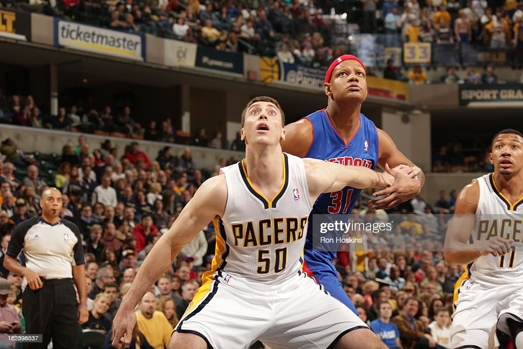 <a gi-track='captionPersonalityLinkClicked' href=/galleries/search?phrase=Tyler+Hansbrough&family=editorial&specificpeople=642794 ng-click='$event.stopPropagation()'>Tyler Hansbrough</a> #50 of the Indiana Pacers waits for the rebound against <a gi-track='captionPersonalityLinkClicked' href=/galleries/search?phrase=Charlie+Villanueva&family=editorial&specificpeople=215189 ng-click='$event.stopPropagation()'>Charlie Villanueva</a> #31 of the Detroit Pistons on February 22, 2013 at Bankers Life Fieldhouse in Indianapolis, Indiana.