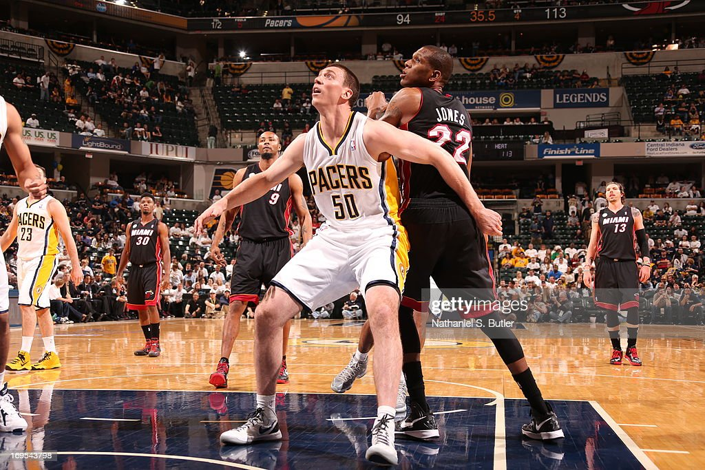 <a gi-track='captionPersonalityLinkClicked' href=/galleries/search?phrase=Tyler+Hansbrough&family=editorial&specificpeople=642794 ng-click='$event.stopPropagation()'>Tyler Hansbrough</a> #50 of the Indiana Pacers waits for the rebound against the Miami Heat in Game Three of the Eastern Conference Finals during the 2013 NBA Playoffs on May 26, 2013 at Bankers Life Fieldhouse in Indianapolis, Indiana.