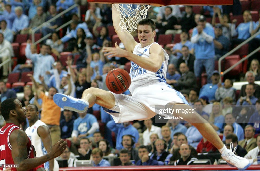 Tyler Hansbrough #50 of the North Carolina Tar Heels dunks the ball against the Arkansas Razorbacks during the second round of the 2008 NCAA Men's Basketball Tournament East Regional on March 23, 2008 at the RBC Center in Raleigh, North Carolina.
