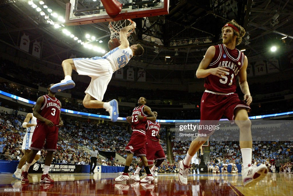 Tyler Hansbrough #50 of the North Carolina Tar Heels dunks the ball against the Arkansas Razorbacks during the second round of the 2008 NCAA Men's Basketball Tournament Midwest Regionals on March 23, 2008 at RBC Center in Raleigh, North Carolina.