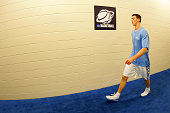 Tyler Hansbrough of the North Carolina Tar Heels walks through the hallway towards the court before taking on the Louisville Cardinals during the...