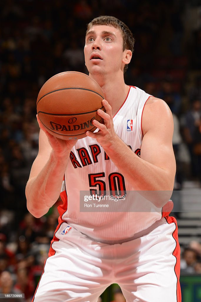 <a gi-track='captionPersonalityLinkClicked' href=/galleries/search?phrase=Tyler+Hansbrough&family=editorial&specificpeople=642794 ng-click='$event.stopPropagation()'>Tyler Hansbrough</a> #50 of the Toronto Raptors attempts a foul shot against the New York Knicks during the game on October 11, 2013 at the Air Canada Centre in Toronto, Ontario, Canada.