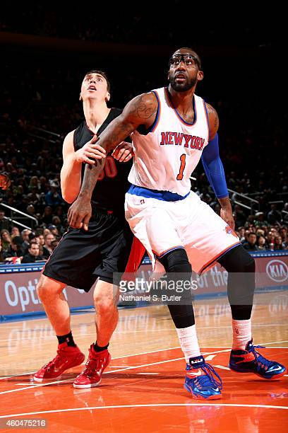 Tyler Hansbrough of the Toronto Raptors battles for position against Amar'e Stoudemire of the New York Knicks at Madison Square Garden on December 14...