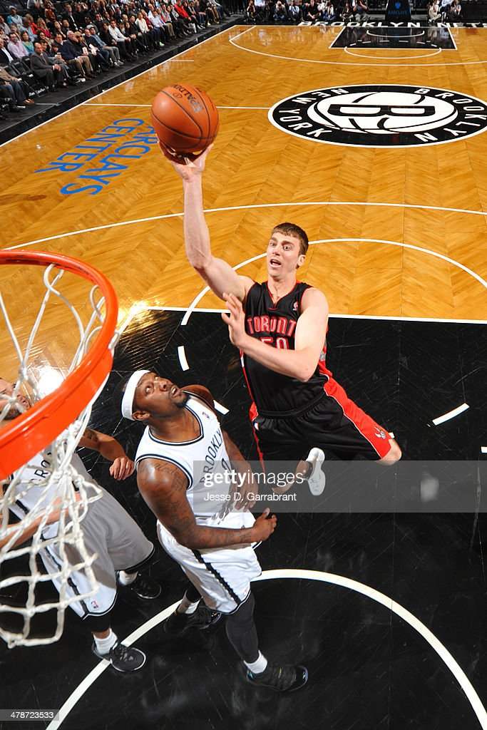 <a gi-track='captionPersonalityLinkClicked' href=/galleries/search?phrase=Tyler+Hansbrough&family=editorial&specificpeople=642794 ng-click='$event.stopPropagation()'>Tyler Hansbrough</a> #50 of the Toronto Raptors goes up for a shot against the Brooklyn Nets on March 10, 2014 at the Barclays Center in Brooklyn, New York.