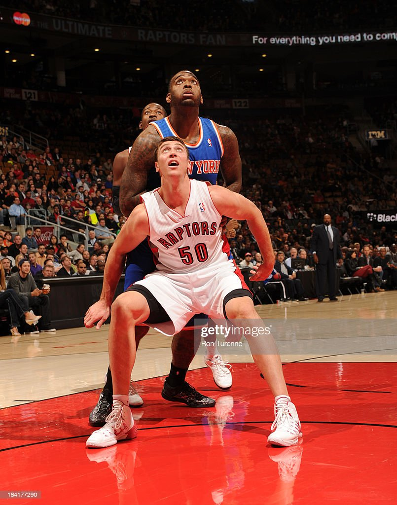 <a gi-track='captionPersonalityLinkClicked' href=/galleries/search?phrase=Tyler+Hansbrough&family=editorial&specificpeople=642794 ng-click='$event.stopPropagation()'>Tyler Hansbrough</a> #50 of the Toronto Raptors waits for a rebound against the New York Knicks during the game on October 11, 2013 at the Air Canada Centre in Toronto, Ontario, Canada.