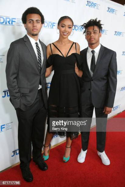 Tyler Harris Bella Harris and honoree Max Harris attend JDRF LA Chapter's Imagine Gala at The Beverly Hilton Hotel on April 22 2017 in Beverly Hills...