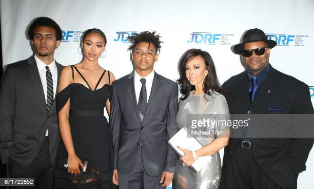 Tyler Harris Bella Harris Max Harris Lisa Harris and Jimmy Jam arrive at the JDRF LA Chapter's Imagine Gala held at The Beverly Hilton Hotel on April...