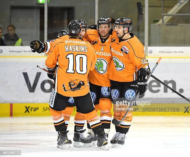 Tyler Haskins Sebastian Furchner Norm Milley and Matt Dzieduszycki of the Grizzly Adams Wolfsburg during the game between Grizzly Adams Wolfsburg and...