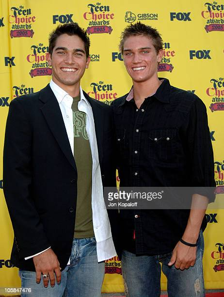 Tyler Hoechlin and brother Tanner Hoechlin during 2005 Teen Choice Awards Arrivals at Gibson Amphitheater in Universal City California United States