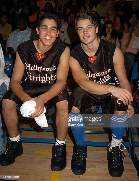 Tyler Hoechlin and Josh Henderson during Hollywood Knights Charity Basketball Game at Walnut High School in Walnut California United States
