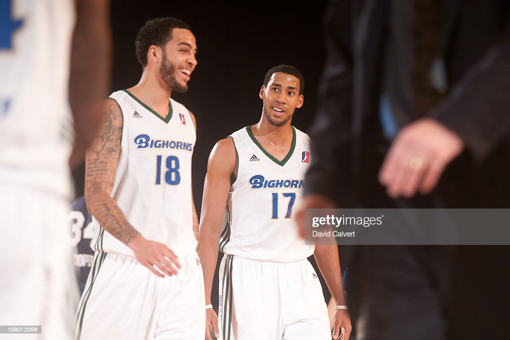 Tyler Honeycutt #18 and Garrett Temple #17 of the Reno Bighorns during a timeout against the Bakersfield Jam on December 7, 2012 at the Reno Events Center in Reno, Nev..