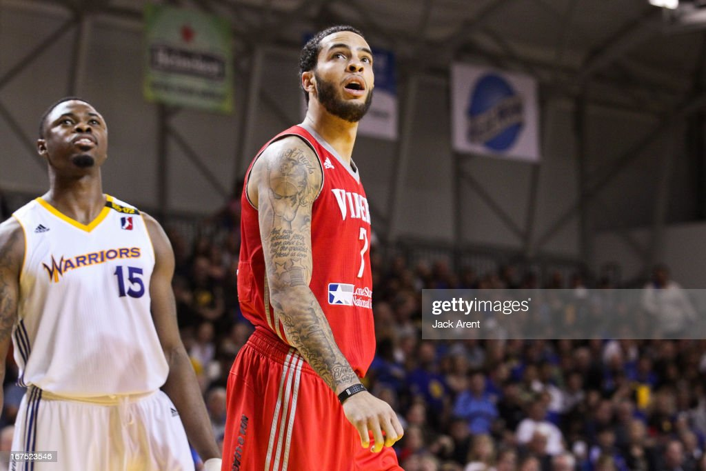 Tyler Honeycutt #7 of the Rio Grande Valley Vipers and Travis Leslie #15 of the Santa Cruz Warriorslook on while playing during Game One of the D-League Championship on April 25, 2013 at Kaiser Permanente Arena in Santa Cruz, California.