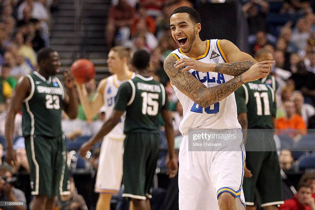 Tyler Honeycutt #23 of the UCLA Bruins reacts in the first half against the Michigan State Spartans during the second round of the 2011 NCAA men's basketball tournament at St. Pete Times Forum on March 17, 2011 in Tampa, Florida.